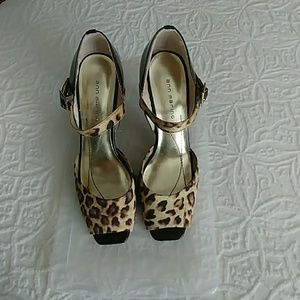 Shoes - Sexy open toe animal print heels